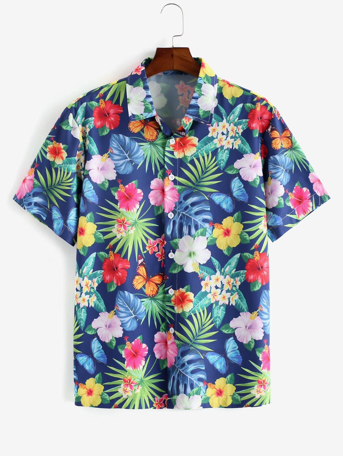 Flower Leaf Pattern Short Sleeves Shirt thumbnail
