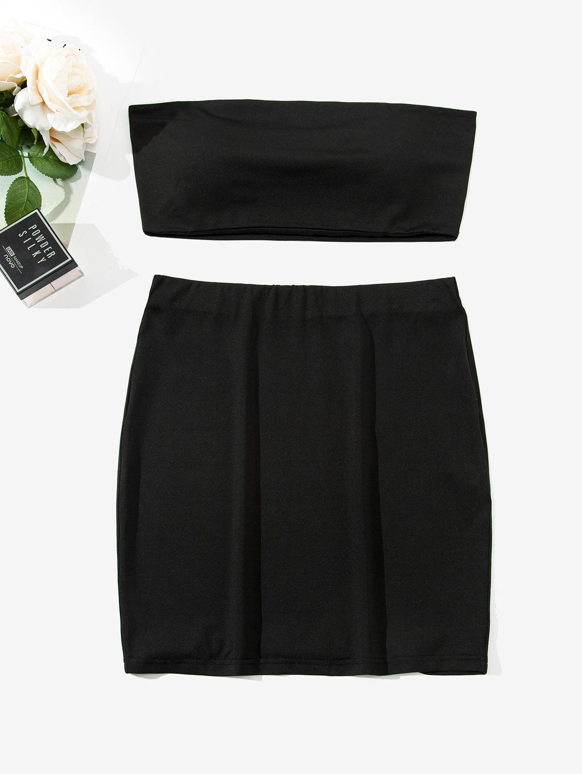 ZAFUL Two Piece Padded Bandeau Top And Skirt Set