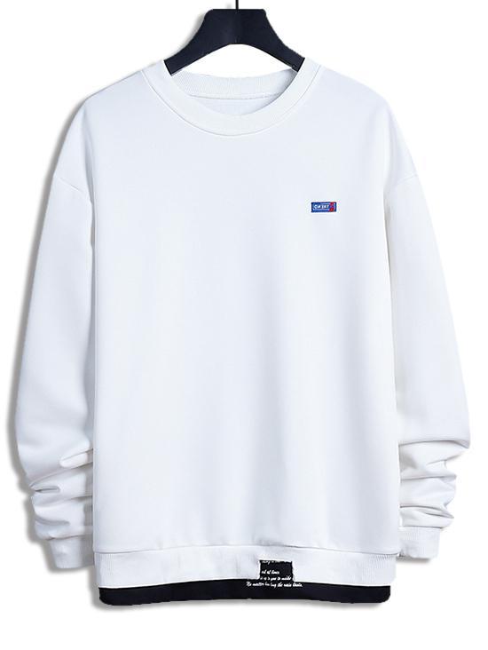 Letter Print Colorblock Splicing Sweatshirt фото