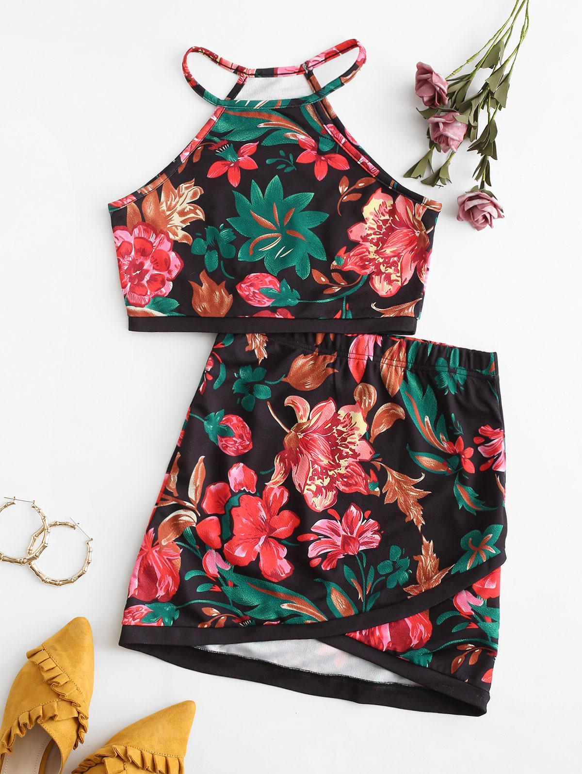 Floral Print Asymmetric Two Piece Suit