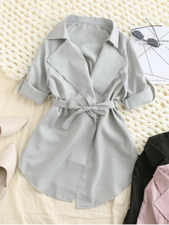 unique Roll Sleeve Wrap Trench Coat - LIGHT GRAY L