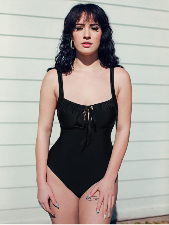 online ZAFUL Tie Square One-piece Swimsuit - BLACK S