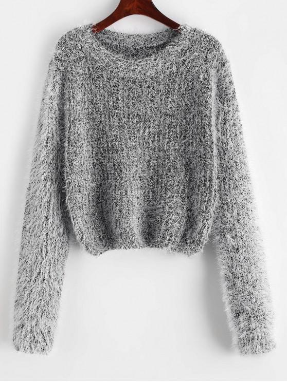 hot Pullover Fuzzy Heathered Sweater - BLACK ONE SIZE