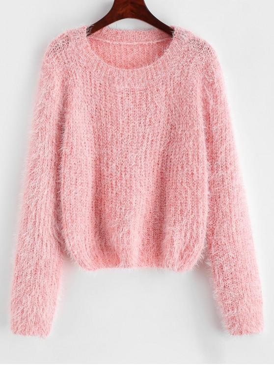 shop Pullover Fuzzy Heathered Sweater - ROSE ONE SIZE