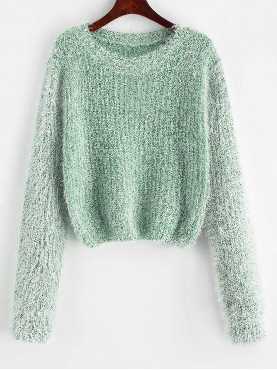 latest Pullover Fuzzy Heathered Sweater - LIGHT SEA GREEN ONE SIZE
