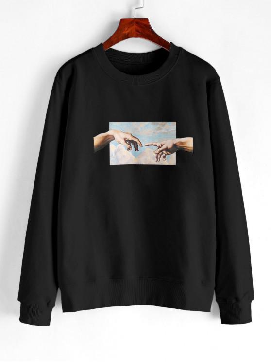 latest Hand Graphic French Terry Basic Sweatshirt - BLACK 2XL