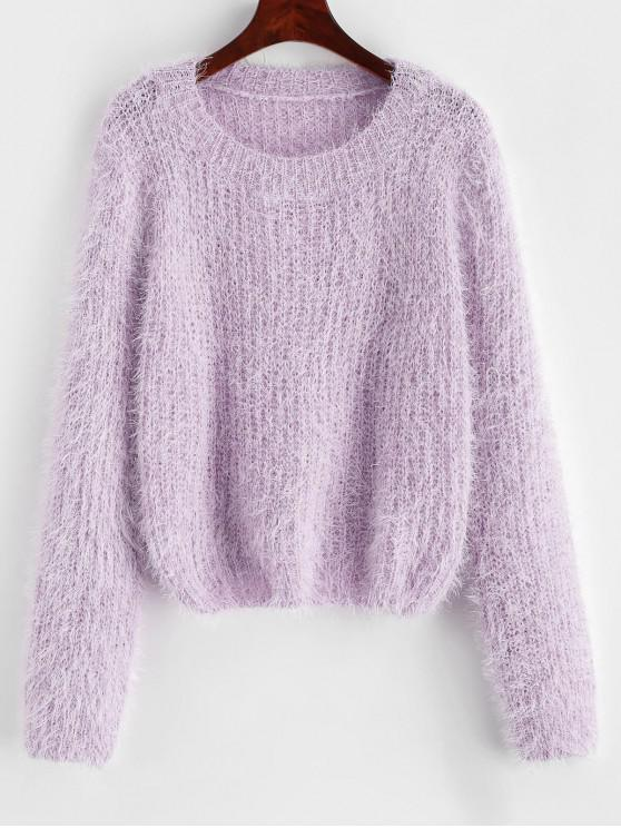 outfits Pullover Fuzzy Heathered Sweater - LILAC ONE SIZE