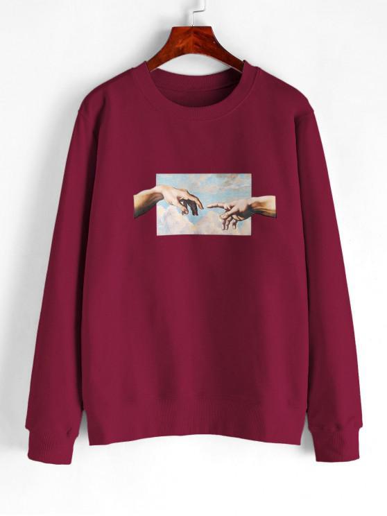 women Hand Graphic French Terry Basic Sweatshirt - RED WINE 2XL
