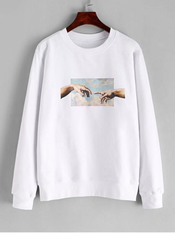 affordable Hand Graphic French Terry Basic Sweatshirt - WHITE M