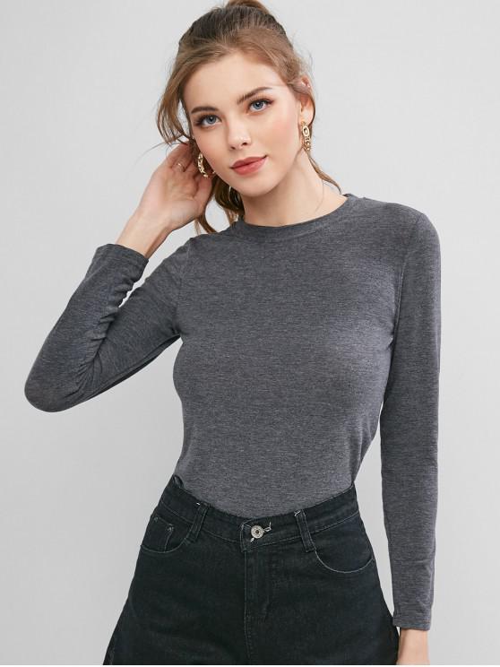 unique Long Sleeve Plain Basic T-shirt - GRAY ONE SIZE