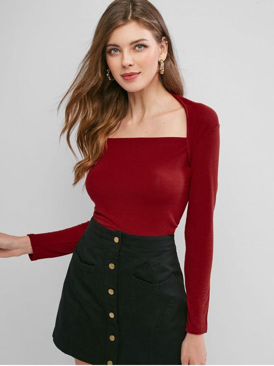unique Square Neck Long Sleeve Crop T-shirt - RED ONE SIZE