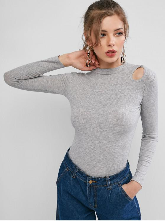 trendy Cut Out Solid Long Sleeves Tee - GRAY L