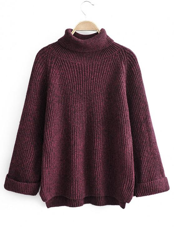 women Turtleneck Side Slit High Low Sweater - RED WINE ONE SIZE