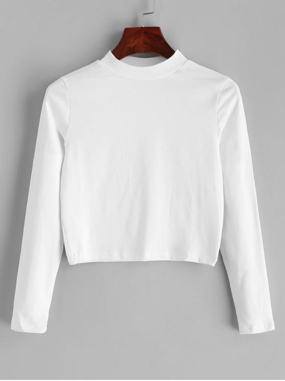 T-shirt Court Simple à Col Montant - Blanc Taille Unique