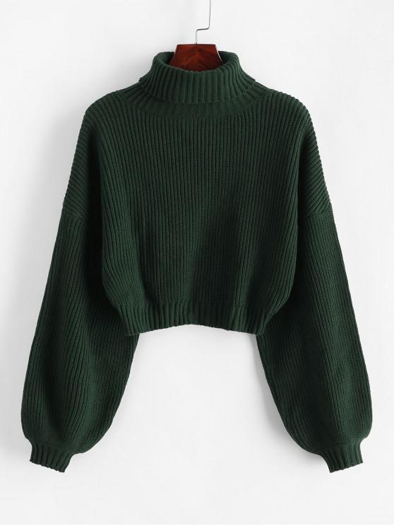 new ZAFUL Turtleneck Lantern Sleeve Cropped Sweater - GREEN L