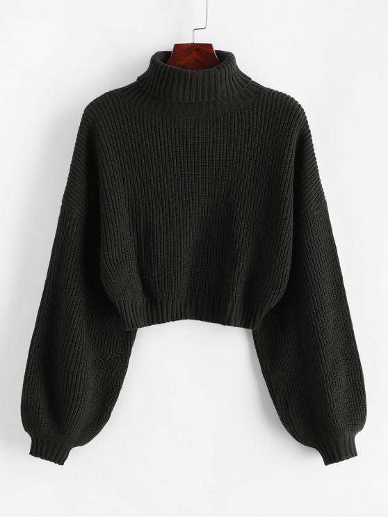 fashion ZAFUL Turtleneck Lantern Sleeve Cropped Sweater - BLACK L