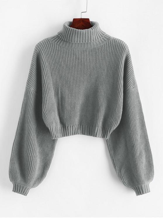 ZAFUL Turtleneck Laternenärmel Zugeschnitter Pullover - Grau M
