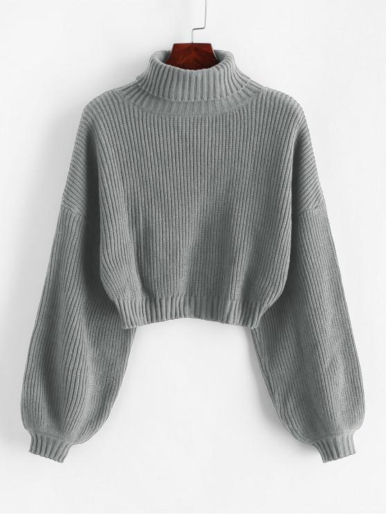 unique ZAFUL Turtleneck Lantern Sleeve Cropped Sweater - GRAY L