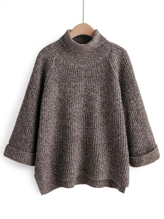 ladies Turtleneck Side Slit High Low Sweater - COFFEE ONE SIZE