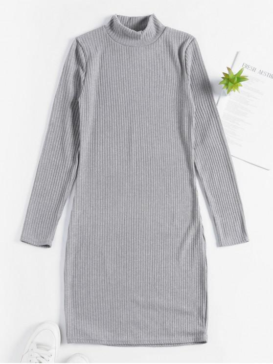 women's High Neck Knitted Bodycon Dress - GRAY CLOUD M