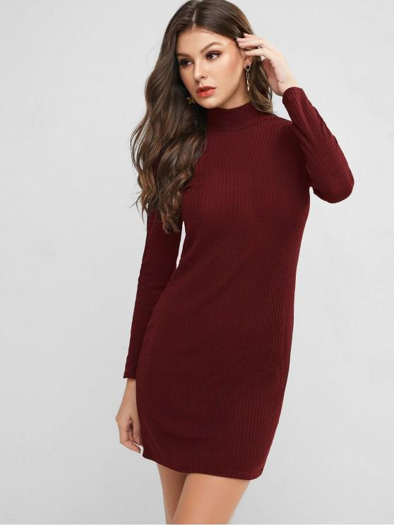 lady High Neck Knitted Bodycon Dress - RED WINE L