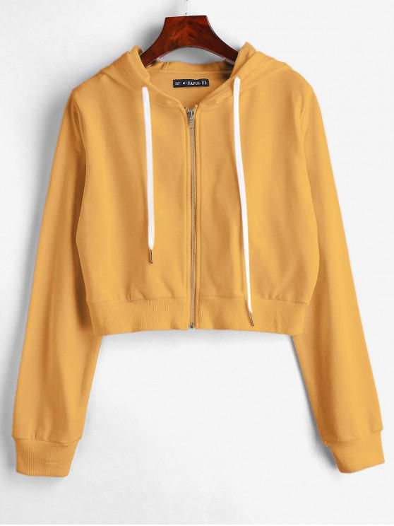 affordable ZAFUL Drawstring Zip Up Cropped Hoodie - BEE YELLOW L