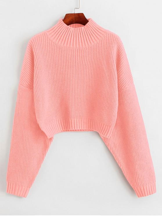 unique ZAFUL Drop Shoulder Mock Neck Plain Sweater - ORANGE PINK L