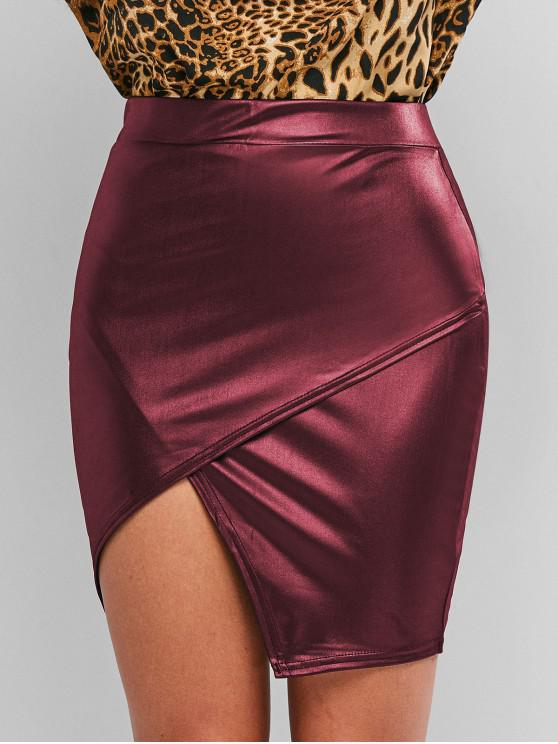 lady Faux Leather Tight Asymmetrical Skirt - RED WINE S