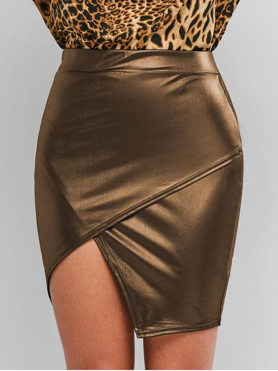 shop Faux Leather Tight Asymmetrical Skirt - CAMEL BROWN S