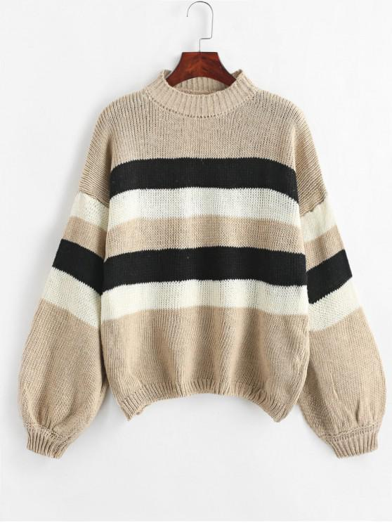 best Lantern Sleeve Stripes Pullover Sweater - CAMEL BROWN ONE SIZE