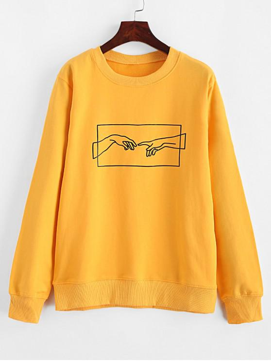 hot ZAFUL Hands Graphic Basic Pullover Sweatshirt - YELLOW L