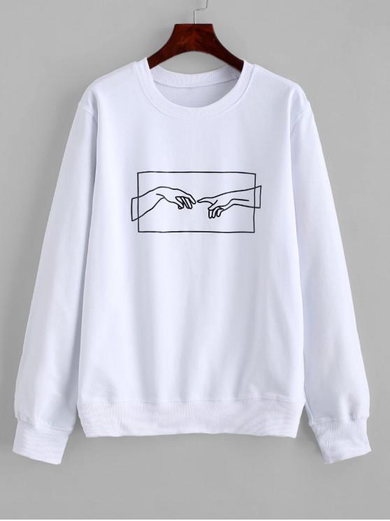 ZAFUL Sweat-shirt de Base Main Graphique - Blanc XL