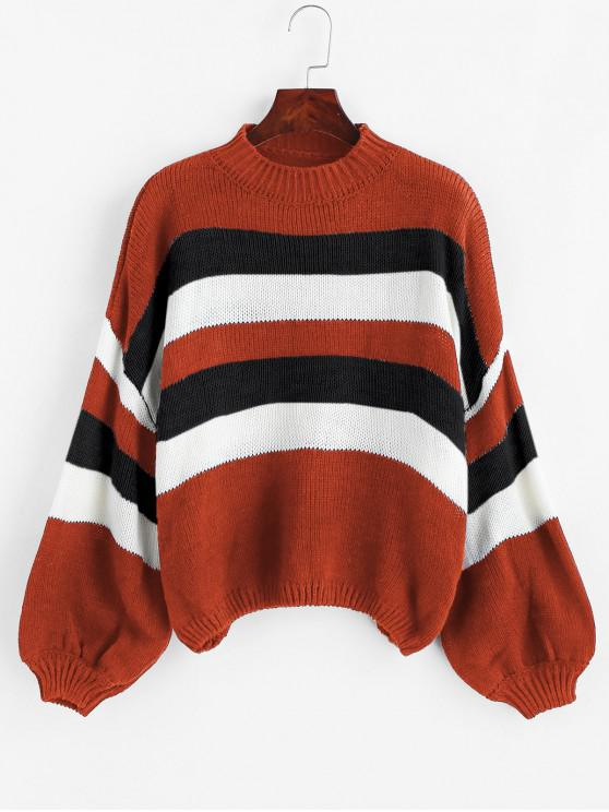 shop Lantern Sleeve Stripes Pullover Sweater - RED ONE SIZE