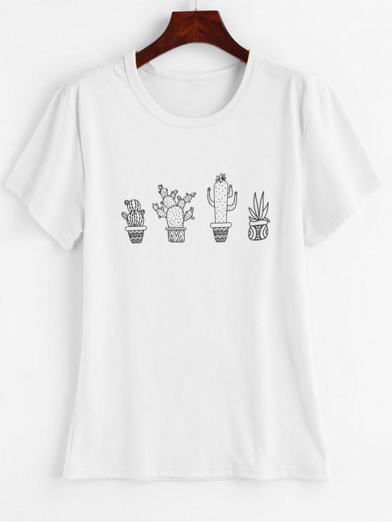 affordable Cactus Graphic T-shirt - WHITE M