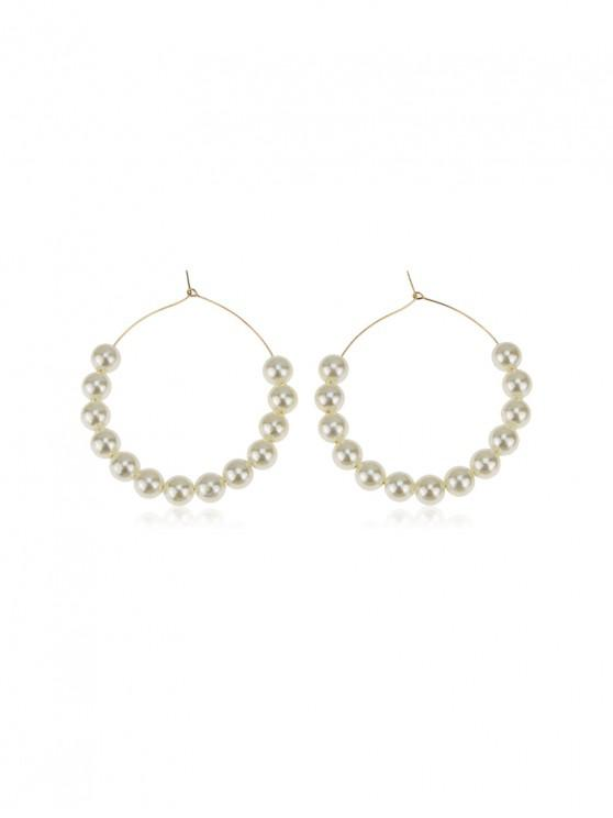 fancy Faux Pearl Wedding Hoop Earrings - WHITE