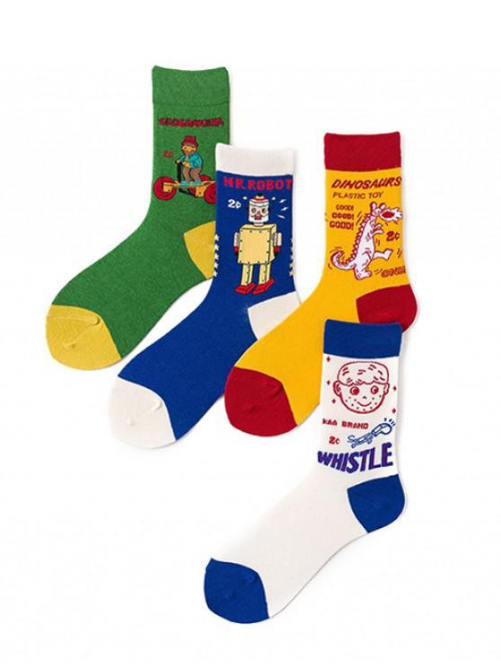 4 пара Мультфильм Хлопчатобумажные Носки Комплект - Многоцветный-A