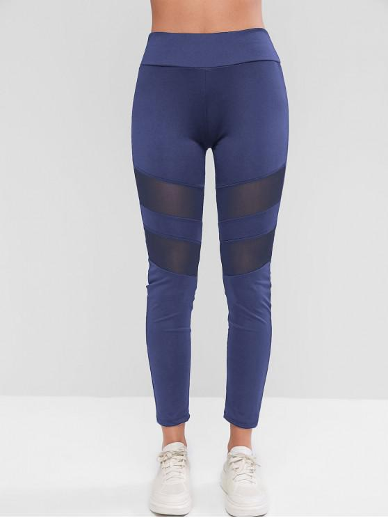 fancy Mesh Insert Skinny Workout Leggings - CADETBLUE S