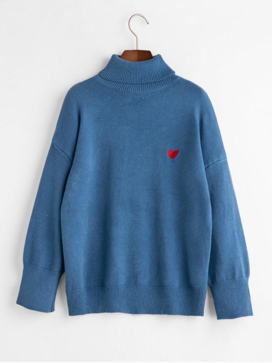 unique Heart Embroidered Drop Shoulder Turtleneck Sweater - BLUE ONE SIZE