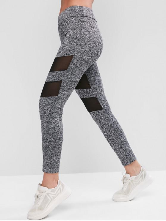 women Mesh Insert Skinny Workout Leggings - GRAY L