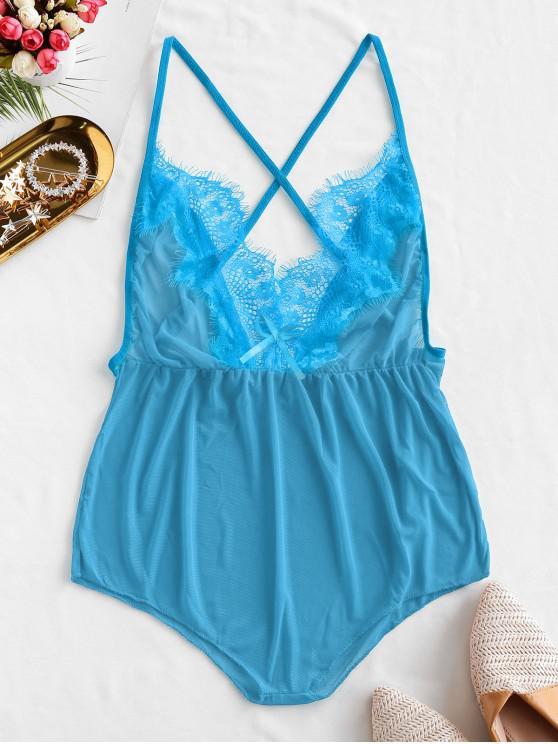 shops Lace Insert Bowknot Criss Cross Lingerie Teddy - BLUE L