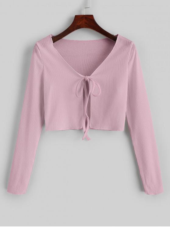 T-shirt Court Côtelé Noué en Avant - Rose L