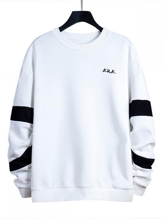 unique Letter Contrast Panel Crew Neck Sweatshirt - WHITE M