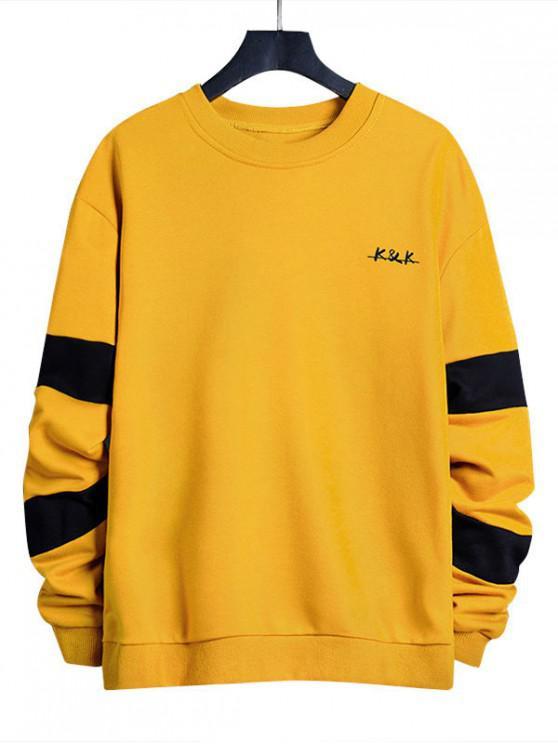 affordable Letter Contrast Panel Crew Neck Sweatshirt - SUN YELLOW XL