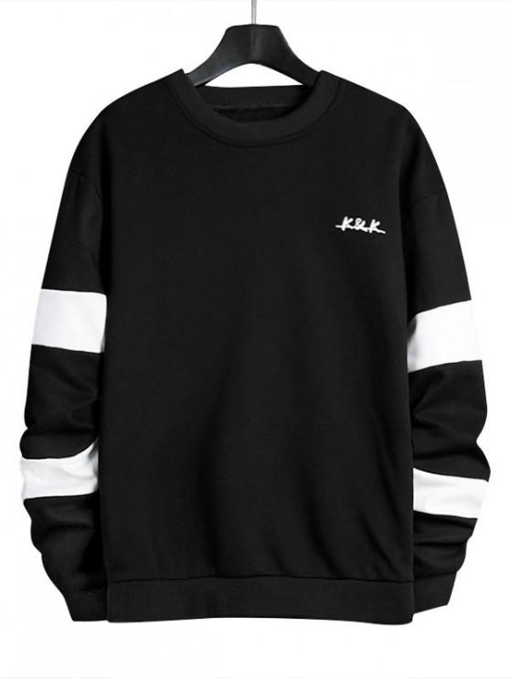 women Letter Contrast Panel Crew Neck Sweatshirt - BLACK M