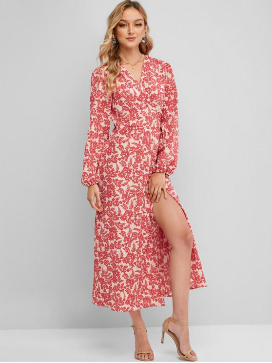 buy Long Sleeve Floral Wrap Maxi Dress - RED L