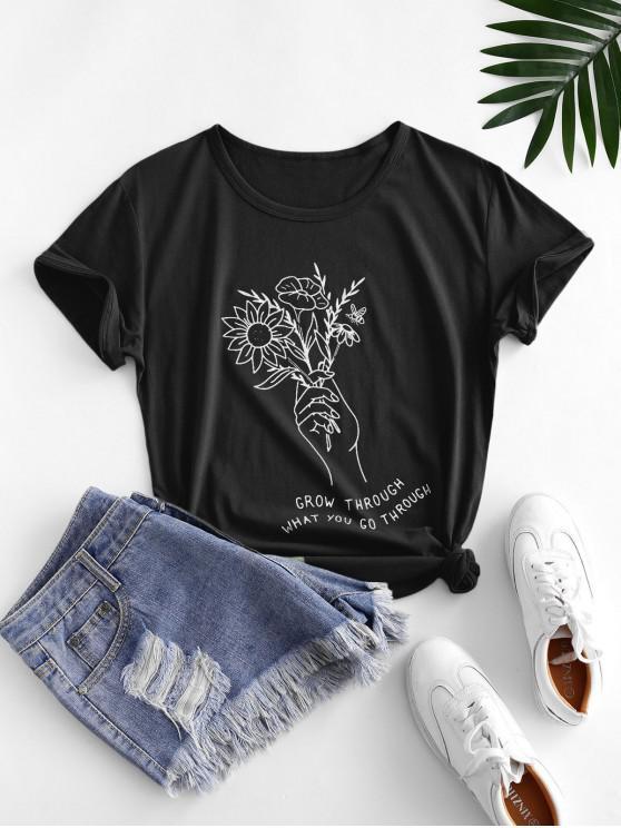 T-Shirt Grafica di Fiore con Maniche Corte - Nero L