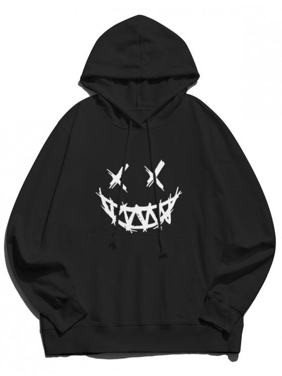 new Happy Face Graphic Pouch Pocket Casual Hoodie - BLACK S