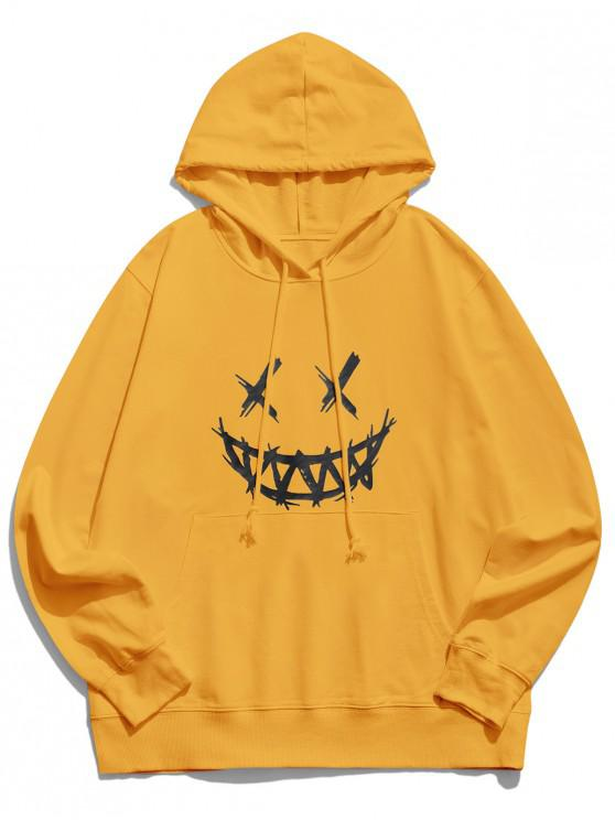buy Happy Face Graphic Pouch Pocket Casual Hoodie - YELLOW S