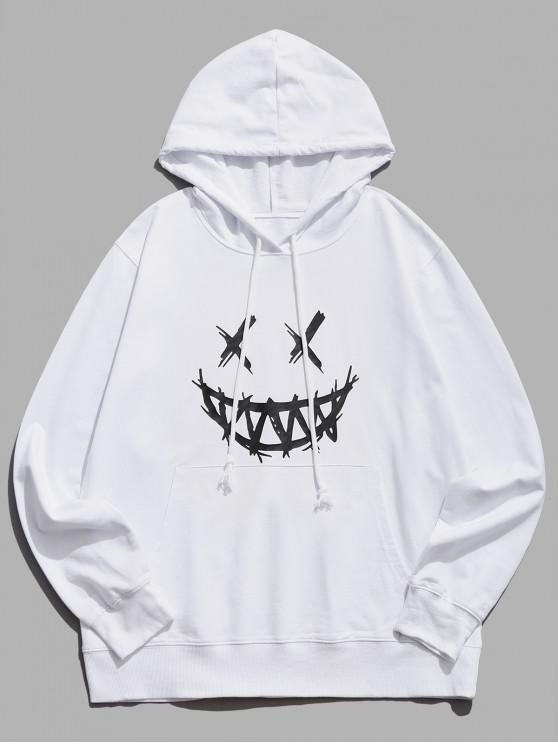 women Happy Face Graphic Pouch Pocket Casual Hoodie - WHITE XS