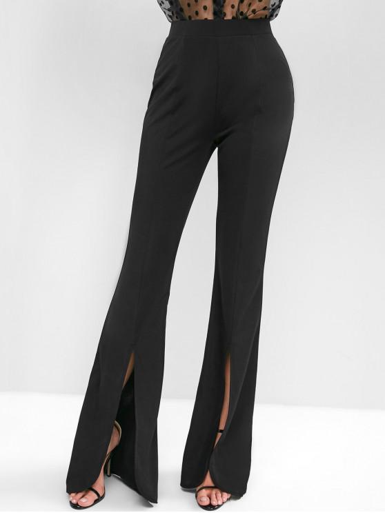 fancy ZAFUL Slit High Waisted Flared Pants - BLACK S
